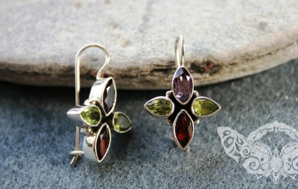 925 Sterling Silver MULTISTONE Earrings #621