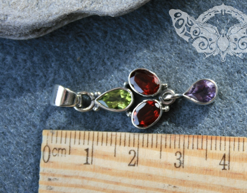 925 Sterling Silver MULTISTONES Pendant #3391