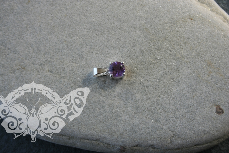 925 Sterling Silver AMETHYST Pendant #3744