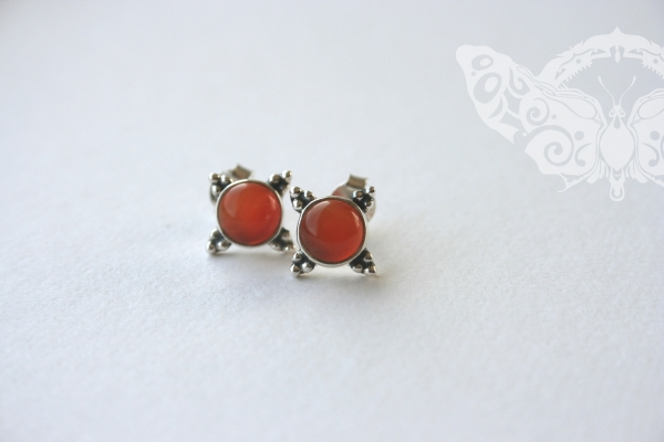 925 Sterling Silver CARNELIAN Earrings #1371