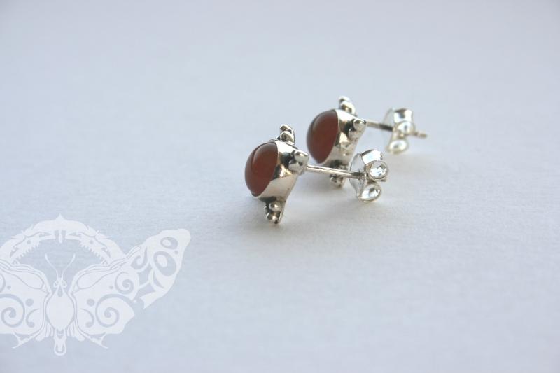 925 Sterling Silver CARNELIAN Earrings #1371