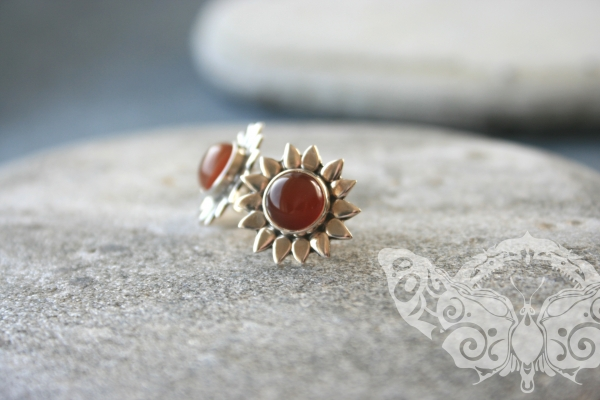 925 Sterling Silver CARNELIAN Earrings #1770