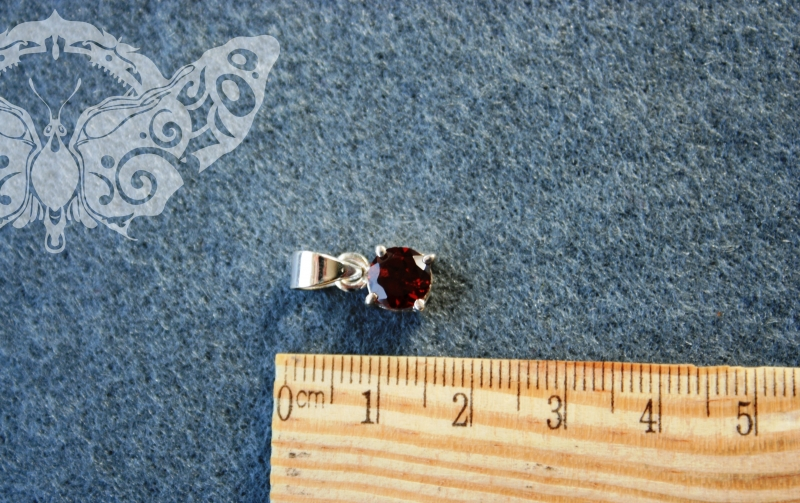 925 Sterling Silver GARNET Pendant #3745