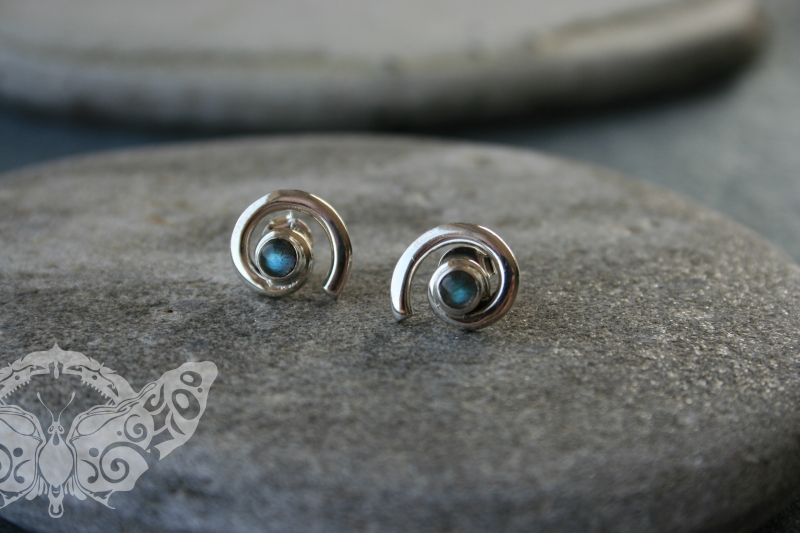 925 Sterling Silver LABRADORITE Earrings #1621