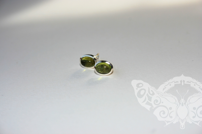 925 Sterling Silver PERIDOT Earrings #2744